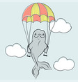 cute bottle nose sea dolphin flying on parachute vector image