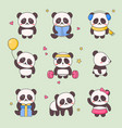 cute panda kawaii character sticker set vector image
