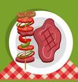 Delicious picnic scene icons