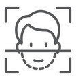 face id line icon face recognition vector image vector image