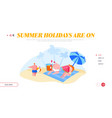 family characters relaxing on beach landing page vector image