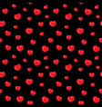 flat hearts seamless pattern red and black vector image vector image