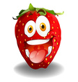 Funny red strawberry face vector image vector image