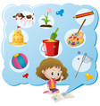 girl and different favorite objects vector image vector image