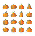 halloween pumpkin line icon set displaced fill vector image vector image