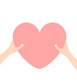 hands arms holding pink heart icon shape sign vector image vector image