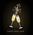 happy new year pair of champagne glass cheers vector image