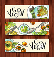 horizontal banners on a vegetarian theme vector image vector image