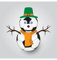 isolated white winter happy snowman from football vector image vector image