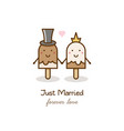 just married couple of ice creams vector image vector image