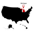 map of the us state michiga vector image