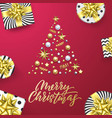 Merry christmas golden greeting card pink
