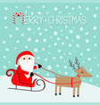 merry christmas santa claus sleigh deer vector image vector image