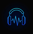 on-ear blue headphones with sound wave line vector image vector image