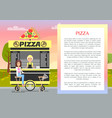 pizza mobile stand in cute summer park banner vector image vector image