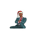 pop art african businessman in a christmas hat vector image