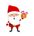 santa claus with gift box present and christmas vector image vector image