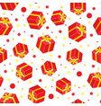 seamless gift pattern red gift boxes vector image