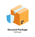 secured package flat icon vector image vector image