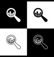 set magnifying glass and data analysis icons vector image