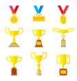 set of beautiful golden trophy cups vector image vector image