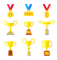 set of beautyful golden trophy cups vector image vector image