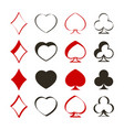 set of monochrome icons with playing cards symbols vector image vector image
