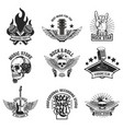 set of rock music emblems isolated on white vector image