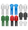 set of white and colorful work clothes design vector image vector image