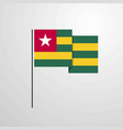 togo waving flag design background vector image vector image