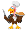 turkey mascot holding knife vector image