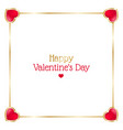 valentines day frame with hearts on white vector image vector image