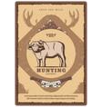 vintage buffalo poster hunting club vector image vector image