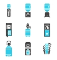 Water cooler supplies flat icons set vector image