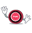 waving funfair coin character cartoon vector image vector image