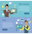 Web Design SEO Web Banners in Flat Style vector image