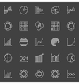 Business graph linear icons vector image