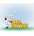 Cow and the words real butter vector image