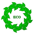 Wreath frame of green leaves Eco gesign Emblem for vector image