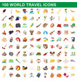 100 world travel icons set cartoon style vector image vector image