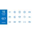 15 cinema icons vector image vector image