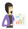 asian business woman showing financial chart vector image vector image