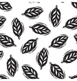 Black and white linocut leaves seamless pattern vector image vector image