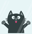 black cat face head tongue paw print silhouette vector image