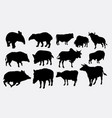 boar tapir and cow silhouette vector image vector image