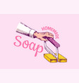bubble bath soap hand in vintage style foam vector image vector image