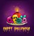 card with sculls and candle vector image vector image