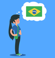 Cartoon Girl Thinking About Brazil vector image