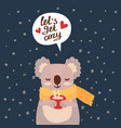 christmas card with cute koala vector image vector image