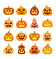 colorful carving face halloween pumpkin icon set vector image vector image